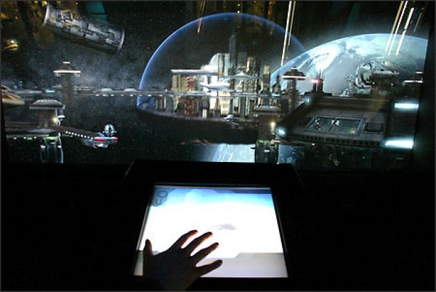"The ""Spacedock"" interactive at the Science Fiction Museum and Hall of Fame in Seattle."